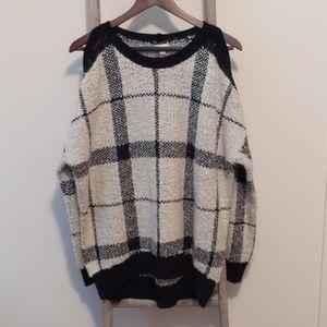 Hem & Thread Black and Ivory cold shoulder sweater